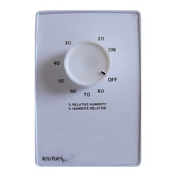 "Aero Pure - Aero Pure Fan AP 100 MCS Wall Mounted Moisture Control Switch - Wall-mounted; Variable Setting from 20-80%; Relative Humidity (RH); Rotary Dial; 120 Volts; White housing; Dimensions: 3"" L x 1.25"" W x 4.25"" H."
