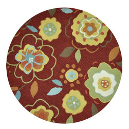 Loloi - Country & Floral Summerton Round 3' Round Red-Yellow Area Rug - The Summerton area rug Collection offers an affordable assortment of Country & Floral stylings. Summerton features a blend of natural Red-Yellow color. Hand Hooked of 100% Polyester the Summerton Collection is an intriguing compliment to any decor.