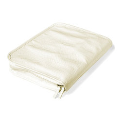 "Clos-ette Too - Signature Travel Jewelry Case, White by Clos-ette Too - It's the ""Birkin"" of jewelry organizers Our best-selling Travel Jewelry Case is as chic as it is functional. A waterproof linen exterior won't wear and wipes clean. Inside, three ultra-suede pages feature special compartments for all types of jewelry. Roomy enough to handle bulky costume and statement jewelry, each page is covered in plastic, ensuring your favorite pieces never tangle. Snap-together pages allow you to remove individual pages for traveling light, or add additional pages to accommodate your entire jewelry wardrobe."