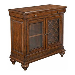 Kincaid - Kincaid Artisan'S Shoppe Sauvignon Cabernet Cabinet 90-1052Style Circa 1815 France.  The function and style of the Sauvignon Cabinet show the influences from the French Restoration period of the early 1800s.  The lines of the under-top molding that featured in later Louis Philippe styling are matched to a mitered base rail.  The solid alder cabinet offers a functional interior to store wine behind one door and stemware behind the other.SKU: 90-1052Finish: WhiskeyCollection: Artisan'S ShoppeManufacturer: Kincaid FurnitureWeight(lbs): 0Volume: 14.8Height: 36.81Width: 36Depth: 16One drawer two doors adjustable shelf wine bottle storage adjustable levelers