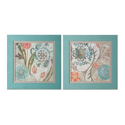 Uttermost - Uttermost 41397 Royal Tapestry Framed Art, Set of 2 - Uttermost 41397 Royal Tapestry Framed Art, Set of 2Prints are accented by oatmeal linen liners and surrounded by frames that have been covered in a loosely woven, turquoise linen fabric.Uttermost 41397 Features: