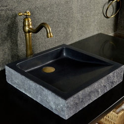 "Livingroc - Black Granite Bathroom Sink 16""x16 - BORNEO SHADOW - from Akemi (one of the world leader) to purchase here, to look after your natural stone vessel sink and offer you trouble free maintenance."
