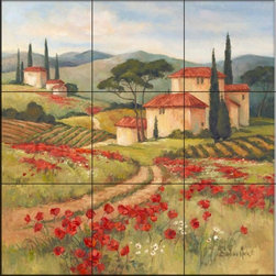 The Tile Mural Store (USA) - Tile Mural - Tuscan Dream II  - Kitchen Backsplash Ideas - This beautiful artwork by Barbara Mock has been digitally reproduced for tiles and depicts a tuscan scene of houses, a vineyard and cypress trees  With our enormous selection of tile murals of tropical plants and flowers you can bring your kitchen backsplash tile project to life. A decorative tile mural with plants and flowers is an impressive kitchen backsplash idea and decorative flower tiles also work great in the bathroom. Add splashes of color and life to your tile project with images of flowers on tiles and tiles with pictures of plants.