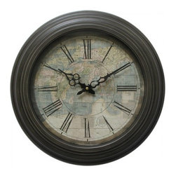 YOSEMITE HOME DECOR - 17 in. Circular Iron Wall Clock has map print and black iron frame - This time piece makes the perfect addition to a class room or library with its dark brown frame and world map dial. This clock is sure to bring back school memories of geography and looking at a world globe. The roman numerals and vintage style hour and minute hand add to the charm of this wall clock.