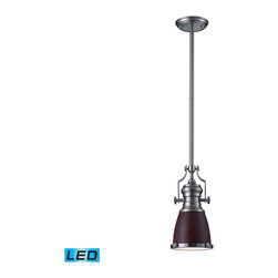 Elk Lighting - EL-66744-1-LED Chadwick LED 1-Light Pendant in Dark Walnut and Satin Nickel - The Chadwick Collection reflects the beauty of hand-turned craftsmanship inspired by early 20th century lighting and antiques that have surpassed the test of time. This Robust Collection features detailing appropriate for classic or transitional decors. Finishes include polished nickel, satin nickel, antique copper and oiled bronze.�Various diffuser options, including glass, metal, and wood printed metal shades, allow for adaptability to almost any design scheme. - LED offering up to 800 lumens (60 watt equivalent) with full range dimming. Includes an easily replaceable LED bulb (120V).