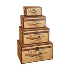 "Benzara - ""Fly The World"" Set of 4 Wood Trunks 28"",24"",20"",14""W - ""Fly the World"" Set of 4 wood trunks 28"",24"",20"",14""W. Dimensions: large box 28 inch length x H, large box second 24inches H x, medium box 20 inches W x and small box is 14 inch length x H."