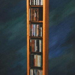Wood Shed - Dowel CD Storage Tower (Unfinished) - Finish: UnfinishedEight shelves. Capacity: 112 CD's. Made from solid oak. 7.5 in. W x 6.5 in. D x 52 in. H