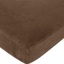 """Sweet Jojo Designs - Teddy Bear Pink - Brown Crib & Toddler Sheet - Teddy Bear Pink fitted crib sheets will help complete the look of your Sweet Jojo Designs nursery. This Solid Brown 100% Cotton sheet fits all standard crib and toddler mattresses and is machine washable for easy care. The Crib Sheet dimensions are 52"""" x 28"""" x 8""""."""