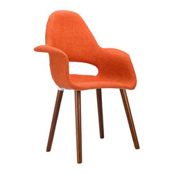 T̻te-��-T̻te Chair in Orange - Have a quiet conversation in this chair inspired by iconic mid-20th century furniture designs. Made with a cozy wool blend fabric and accentuated by the wooden legs, this small chair provides an intimate space for those who want to share more with family and friends.