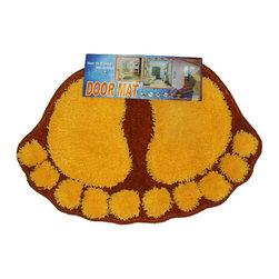 Four Seasons - Foot Prints Orange-Red Shaggy Accent Floor Rug Door Mat - Features: