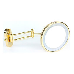 Windisch - Wall Mounted Lighted Brass 3x Magnifying Mirror - Contemporary style wall mounted fluorescent lighted mirror. Mirror is available in a satin nickel or gold finish with 3x magnification. Mirror has a hardwired electric connection. Modern & contemporary cosmetic mirror made of brass. Coated with satin nickel or gold. Part of the Windisch Mirror Collection collection. Designed and built in Spain. Versatile, luxury magnified mirror.