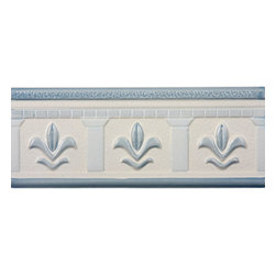 Renovators Supply - Wall Tiles Cream Ceramic Wall Tile & Borders | 13349 - This traditional motif features light blue flowers on a cream background with a matte finish. The raised flower relief provides depth. Ceramic is easy to clean and lasts for generations. Measures 3 in h x 8 in. l.