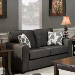 Chelsea Home Bergen Loveseat - Talbot Onyx - This contemporary, two-cushion Chelsea Home Bergen Loveseat - Talbot Onyx was designed specifically to match Chelsea's larger Bergen Sofa model in a spacious living room area or basement, but its attractive design makes it a capable anchor to any modern area in a lounge, studio apartment or dormitory. The loveseat features a blended fabric that is 68 percent polypropylene and 32 percent polyester creating a textured upholstery that is attractive and comfortable. Constructed with a solid hardwood frame that is sturdy and durable through years of usage and possible a couple relocations, the compact couch features two seat and two back cushions made with 1.8 density foam cushions, an innovative sinuous spring system, and Dacron wrap that prevents annoying sliding when you reach for the remote control or plug your smartphone into the adjacent outlet. Both the seat and back cushions are removable. Measuring a spacious 65 inches across, the loveseat comfortably seats two.About Chelsea Home FurnitureProviding home elegance in upholstery products such as recliners, stationary upholstery, leather, and accent furniture including chairs, chaises, and benches is the most important part of Chelsea Home Furniture's operations. Bringing high quality, classic and traditional designs that remain fresh for generations to customers' homes is no burden, but a love for hospitality and home beauty. The majority of Chelsea Home Furniture's products are made in the USA, while all are sought after throughout the industry and will remain a staple in home furnishings.