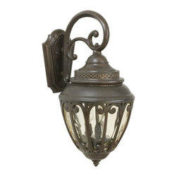 Exteriors - Exteriors Olivier Traditional Outdoor Wall Sconce - Medium X-89-4183Z - This Craftmade Olivier Traditional Outdoor Wall Sconce is truly a piece that does not lack details. It has a beautiful frame in a warm, aged bronze finish; a prominently scrolled; arm and an attractive, champagne hammered glass shade. It's a gorgeous, three-light, 20.75-inch-tall fixture that's sure to stand out in any outdoor space.
