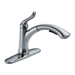 Delta Faucet - Linden Pull-Out Faucet Arctic Stainless - 4353-AR-DST Linden 1-Handle Pull-Out Sprayer Kitchen Faucet in Arctic Stainless