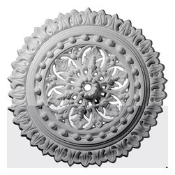"Ekena Millwork - 18 1/2""OD x 1 1/8""ID x 1 1/2""P Sellek Ceiling Medallion - 18 1/2""OD x 1 1/8""ID x 1 1/2""P Sellek Ceiling Medallion. Our ceiling medallion collections are modeled after original historical patterns and designs. Our artisans then hand carve an original piece. Being hand carved each piece is richly detailed with deep relief, sharp lines, and a truly unique touch. That master piece is then used to create a mould master. Once the mould master is created we use our high density urethane foam to form each medallion. The finished look is a beautifully detailed, light weight, solid construction, focal piece. The resemblance to original plaster medallions is achieved only by using our high density urethane and not vacuum formed, ""plastic"" type medallions. - Medallions can be cut using standard woodworking tools to add a hole for electrical or a ceiling fan canopy. - Medallions are light weight for easy installation. - They are fully primed and ready for your paint. If you have any questions feel free to ask. These are in stock and available for immediate shipment."