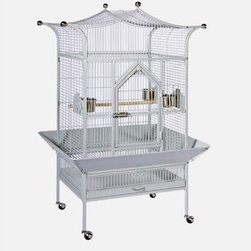 """Prevue Hendryx - Signature Series Medium Royalty Wrought Iron Bird Cage - Features: -Signature Series collection. -Available in the following colors: Black, Coco and Pewter. -Stainless steel top ornamental balls. -Easy and secure 12 round socker screw assembly prevents birds from unscrewing. -2 solid wood bird cage perches. -Heavy-duty spring-loaded master door lock. -Rounded corner seed guard. -Pull-out tray and grille with grille-clip. -Solid rubber heavy duty ball casters. -Construction material: Powder coated metal. Specifications: -Exterior dim: 58.5"""" H x 21"""" W x 27"""" D. -Interior dim: 42"""" H x 20.75"""" W x 26.5"""" L. -Bar spacing: 3/4"""". -Wire gauge: 9 and 11."""