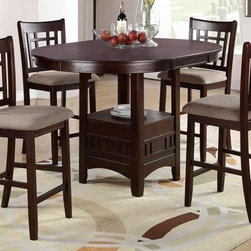 POUNDEX Furniture - 5 Piece Counter Height Dining Table Set by Poundex Furniture - Set includes 1 Counter Height Table and 4 Counter Height Chair