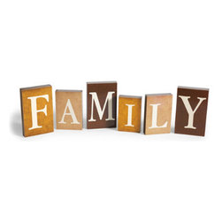 "Grandin Road - 6-piece ""Family"" Blocks Display - Set of six wood blocks that spell out ""family"". White lettering on three varying shades of brown. However and wherever you choose to display it, you'll convey a heartwarming message. Proudly proclaim your affection for those you hold dear, on any mantel or tabletop, year round, with our 6-piece ""Family"" Blocks Display. Each letter in the set is a separate, varying-sized wood block in three different shades of brown. Make your statement however you see fit: Line the letters up, stagger them, or stack them on top of books for even more variation in height.  .  .  ."