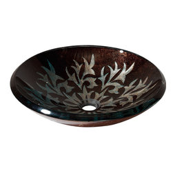 None - Avanity Contemporary Autumn Leaf Tempered Glass Vessel Sink - Create a beautiful focal piece in your bathroom with this autumn leaf tempered glass sink. With this contemporary vessel sink you can fill your bathroom decor with the warming,rustic color of fall.