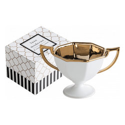 Luxe Moderne Octagonal Trophy Bowl - This little trophy bowl is perfect for serving salty snacks on the bar. I love the brass accent inside, which is perfect for coordinating with holiday decor.