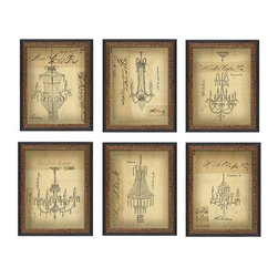 Ballard Designs - Document Chandelier Framed Print - Wood frames vary with prints. Glass front. Ready to hang. Made in America. Artist Kolene Spicher adds a touch of whimsy to drawings of ritzy chandeliers on parchment-like paper, made to look like authentic vintage designs. The names of various once-famous retailers are written in script on each image. Printed on fine art paper and framed. Document Chandelier Framed Print features: . . . .
