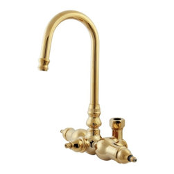 Kingston Brass - Polished Brass Vintage-Style Goose Neck Faucet with Back Outlet & Diverter ABT20 - This gooseneck faucet body is designed for clawfoot tubs can be used wall mounted or deck mounted with the addition of the appropriate elbows and fittings, includes integral diverter and outlet for shower riser, manufactured out of solid brass and equipped with a ceramic cartridge this faucet will give you many years of trouble free performance. Manufacturer: Kingston Brass. Model:ABT200-2. UPC: 663370097232. Product Name: Goose Neck Faucet with Back Outlet & Diverter. Collection / Series: Vintage. Finish: Polished Brass. Theme: Contemporary / Modern. Material: Brass. Type: Faucet. Features: Constructed in high quality brass. Beautiful premier finish. For the clawfoot tub faucet. With high-rise tubular spout. With shower diverter.