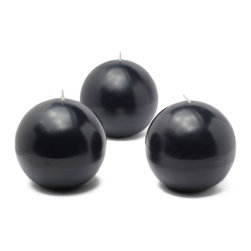 """Jeco - 3"""" Black Ball Candles - 6pc/Box"""" - """"3 inch Ball candles have been around for a while but often unnoticed. Spruce up your room with these ball candles and enjoy the dimensions it creates. These unscented sphere candles burn exceptionally long and have solid color all the way through."""