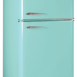 Elmira Stove Works - 18.2 cubic foot retro Northstar fridge in Robin's Egg Blue. Fab 50's on the outside, 21st century features and efficiency inside.