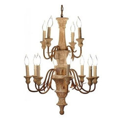 "EuroLux Home - New 24"" X 31"" Chandelier Wood Carved - Product Details"