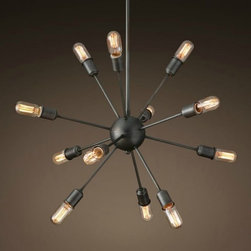 Black Dandelion 12 Lights Dining Room Pendant chandelier Lighting - Add warmth to your home by hanging this Black Dandelion 12 Lights Dining Room Pendant Lighting in your living room,your kitchen bar,your family or your children's bedroom.Once you hang this lamp, you'll start critiquing every other lighting fixture in the house. The light's unique design will change the way you think about illuminating a room.More Table Lamp,Pendant Lighting and Floor Lamp Are waiting for you in www.parrotuncle.com!Welcome to buy now!