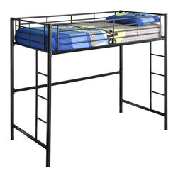 Walker Edison - Twin Metal Loft Bed - Black - Beloved for its compact foot print, this loft bed is a necessity for your children's bedroom. The sturdy, steel frame promises stability and function to support a twin size mattress and up to 250 pounds. Features full length guardrails and two integrated ladders, one on each end. This ideal space-saver is the perfect addition for your bedroom.