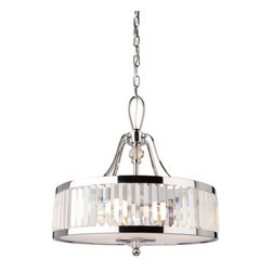 Artcraft Lighting - Artcraft Lighting CD2073 Chrome Pendant from the Crystal Cloud Collection - The Crystal Cloud collection by Carolina Lares, features prism shaped crystals incased by chrome plated frames. Truly Stunning! Pendant with frosted glass diffuser.  Features: