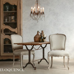 Eloquence - Eloquence Colette Dining Chair - Beach House Natural - New! The Eloquence Colette Dining Chair. Gorgeous and feminine Louis XV shape with fine floral carvings and delicate legs. In Beach House Natural finish with Fog Linen upholstery.