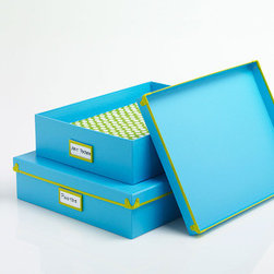 Put A Lid On It Box in Blue - We love organizational tools that double as cute décor. Made from paperboard with a 100% post-consumer recycled core and a neat metal trim, it's ready to keep your papers, to-do project items, and more organized in chic style right out in the open.