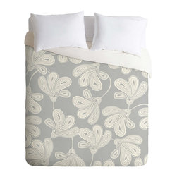 DENY Designs - Provencal Gray Duvet Cover, King, Lightweight - Turn your basic, boring down comforter into the super stylish focal point of your bedroom. Our Lightweight Duvet is made from an ultra soft, lightweight woven polyester, ivory-colored top with a 100% polyester, ivory-colored bottom. They include a hidden zipper with interior corner ties to secure your comforter. It is comfy, fade-resistant, machine washable and custom printed for each and every customer. If you're looking for a heavier duvet option, be sure to check out our Luxe Duvets!