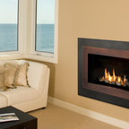 H4 Series Fireplace - H4 with Landscape Surround (660LSV), Copper Inner Bezel (661BSC) and Decorative Rock Kit (761DRK)