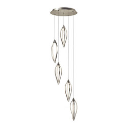 Elan Lighting - Meridian 83394 - LED 5 Light Pendant | Elan - Elan Lighting Meridian 83394 LED 5 light pendant lamp features brushed nickel�finish with clear etched acrylic. Manufacturer: ElanSize: 21.75 in. diameter x 22.25 in. height x 108.25 in. max height adjustibleLight Source: (5)216 x 0.06 W = 64.8W Total�LED Tape [3200k Warm White] - included Dimmable Certification: ETL