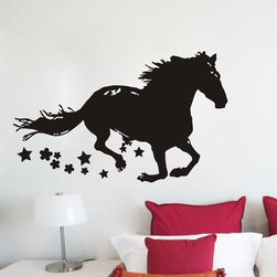 ColorfulHall Co., LTD - Large Running Horse with Stars Jungle Animal Wall Decals - You will find hundreds of affordable peel - and - stick wall decal designs, suitable for all kinds of tastes and every room in your house, including a children's movie theme, characters, sports, romantic, and home decor designs from country to urban chic. Different from traditional decals, vinyl wall decals is with low adhesive that allows you to reposition as often as you like without damaging the paint. Application is easy: peel offer the pre-cut elements on the design with a transfer film, and then apply it to your wall. Brighten your walls and add flair to your room is just as easy.