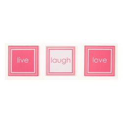 "Simplicity Hot Pink - Canvas Art - 3pc canvas art pack adds ""life"" to this collection and your room.  With words of ""live"", ""laugh"" and ""love""  -- you can add even more personality to this room.    A gorgeous accent for the room or bathroom."
