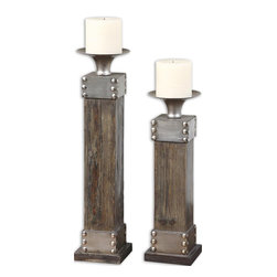 Silver and Natural Wood Candleholders, Set of 2 - *Natural Wood With A Light Chestnut Stain And Antiqued Silver Accents. Distressed White Candle Included. Sizes: Sm-5x14x5, Lg-5x18x5.