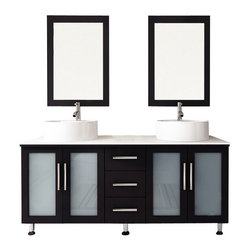 "JWH Imports - 59"" Double Lune Large Vessel Sink Modern Bathroom Vanity with Phoenix Stone Top - The epitome of form meets function, this contemporary double vanity boasts two sinks, two generously sized cabinets with frosted glass doors, and a middle panel of three sliding, soft-close drawers. Aesthetically stunning yet oh-so-practical, this bathroom vanity is an exquisite addition to your powder room with storage options aplenty."