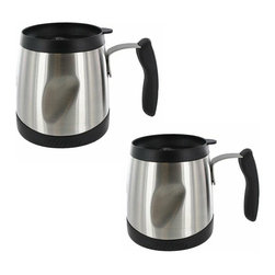 Thermos - Thermos Thermax 16-oz Stainless Steel Desk Mug - (Set of 2) - The TherMax double-wall vacuum insulation locks in temperature to preserve flavor and freshness. These two mugs feature unbreakable stainless steel interior and exterior.