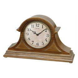 Rhythm - Joyful Remington Wooden  Musical Mantel Clock - Dressed in a beautiful oak case with corner overlays, the Joyful Remington is a classic tambour style clock