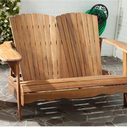 Safavieh - Safavieh Outdoor Living Hantom Adirondack Natural Acacia Wood Bench - Nothing is more romantic than an Adirondack loveseat for watching sunsets,sipping cocktails or just enjoying conversation.