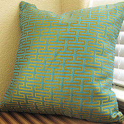 Teal Blue Pillow Cover - Geometric Zig Zag Design in Gold - One of a kind Teal Blue Pillow Cover - Geometric Zig Zag Design in Gold - 18 X 18 in Throw / Cushion Cover