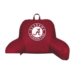 Sports Coverage - Alabama Crimson Tide NCAA Jersey Material Bedrest - Sit back and get ready to watch the game with this comfortable Alabama Crimson Tide NCAA Jersey Material Bedrest from Sports Coverage Inc. Each bedrest is made from 100% Polyester Jersey with a 100% Polyester fill (just like the athlete's wear) and features a screen printed logo in the center. Great for watching the game on the floor or in your bed, this Locker Room bedrests allows your to cheer for your team while relaxing in style.   Features:  -  100% Polyester ,   -  Lightweight,    - Jersey Bedrest ,   - Team logo centered on solid background ,   -  Size: 21x 31,