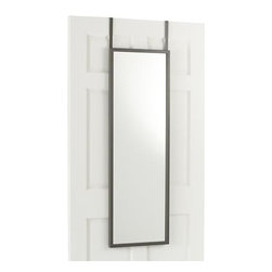 Over the Door Mirror - Reflect on the ultimate convenience of this hanging mirror that fits over any door less than 1.5-inches wide without hardware or hang-time (though optional D-rings are included for traditional installation). Clean design with a soft grey painted finish is at home in just about any setting.