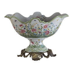 Oriental Danny - Porcelain basin - This hand painted basin compote will definitely be cherished. Oval Scallop shade compote has bronze ormolu base. Hand painted with lovely floral pattern. Great as centerpiece and floral arrangement