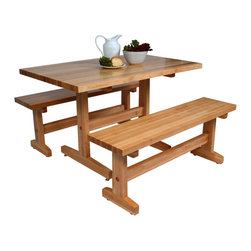 John Boos - Boos Maple Trestle Table & Optional Benches for Casual Dining or Work - John Boos Trestle table for work or dining. Constructed of 1.5-inch-thick hard rock maple. Available in 12 sizes. Matching benches in 3 sizes. fAM-FARM-TR